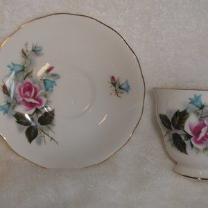 Queen Anne bone china teacup saucer pink blue